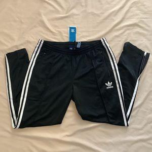 Adidas 3 stripes tapered zipper bottom track pants